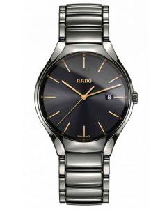Rado Mens True Quartz Grey Ceramic Bracelet Watch R27239152