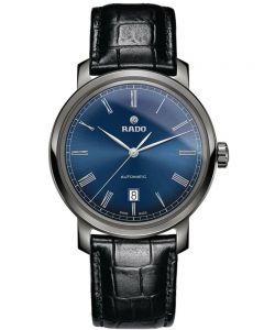 Rado Mens DiaMaster Automatic Black Leather Strap Watch R14806206
