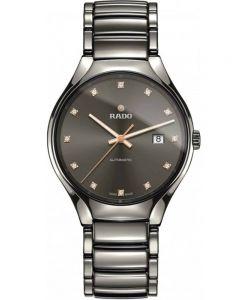 Rado Mens True Diamonds Automatic Grey Ceramic Bracelet Watch R27057732