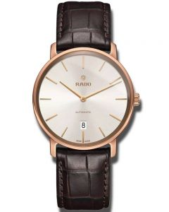 Rado Mens DiaMaster Automatic Thinline Brown Leather Strap Watch R14068026