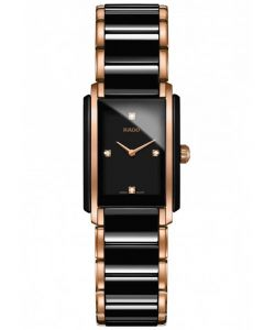 Rado Ladies Integral Diamonds Quartz Black and Rose Ceramic Bracelet Watch R20612712 S