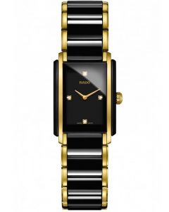 Rado Ladies Integral Diamonds Quartz Black and Gold Ceramic Bracelet Watch R20845712 S