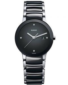 Rado Ladies Centrix Diamonds Jubile Quartz Black and Silver Ceramic Bracelet Watch R30935712 S