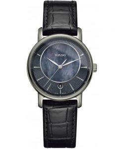 Rado Ladies DiaMaster Quartz Black Leather Strap Watch R14064915