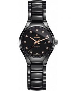 Rado Ladies True Diamonds Automatic Black Ceramic Bracelet Watch R27242732