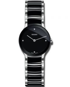 Rado Ladies Centrix Diamonds Quartz Black and Silver Ceramic Bracelet Watch R30191712