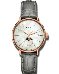 Rado Ladies Coupole Classic Moonphase Quartz Grey Leather Strap Watch R22885945