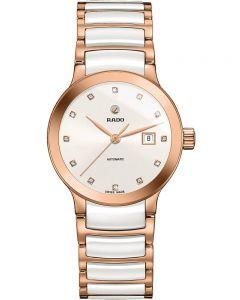 Rado Ladies Centrix Diamonds Automatic White and Rose Ceramic Bracelet Watch R30183742