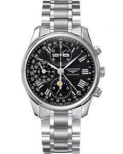 Longines Mens Master Chronograph Black Dial Bracelet Watch L26734516