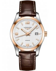 Longines Mens Conquest Classic Two Colour Brown Leather Strap Watch L27855763