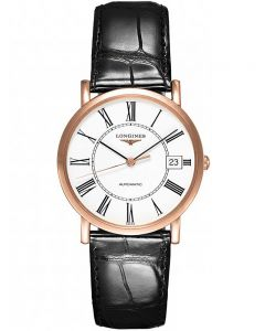 Longines Mens Elegant 18ct Rose Gold White Dial Black Leather Strap Watch L47788110