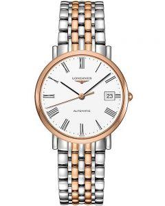 Longines Mens Elegant White Dial Two Colour Bracelet Watch L48105117
