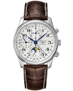 Longines Mens Master Moonphase Chronograph Silver Dial Brown Leather Strap Watch L26734783