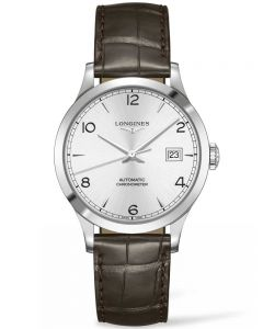Longines Mens Record Silver Dial Brown Leather Strap Watch L28204762