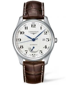 Longines Mens Master Power Reserve Silver Dial Dark Brown Leather Strap Watch L29084783