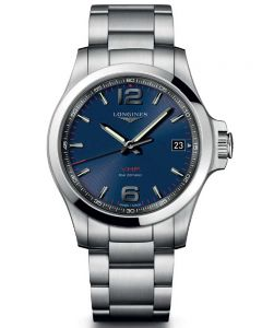 Longines Mens Conquest V.H.P Blue Dial Bracelet Watch L37164966