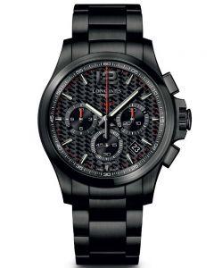 Longines Mens Conquest V.H.P Chronograph Black Dial Black PVD Bracelet Watch L37172666
