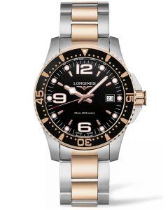 Longines Mens HydroConquest Quartz Black Dial Two Colour Bracelet Watch L37403587