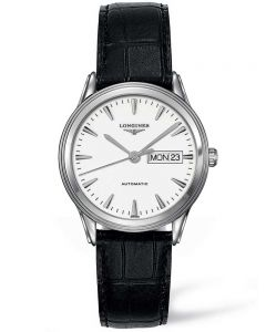 Longines Mens Flagship White Dial Black Leather Strap Watch L48994122