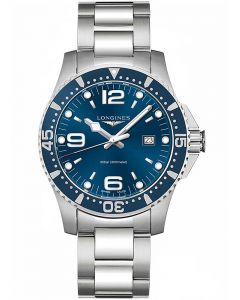 Longines Mens HydroConquest Quartz Blue Dial Bracelet Watch L38404966