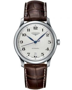 Longines Mens Master Silver Dial Brown Leather Strap Watch L26284783