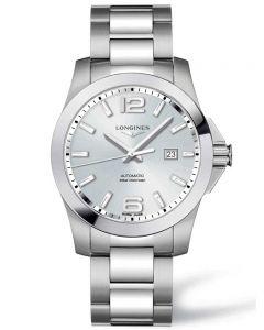 Longines Mens Conquest Silver Dial Bracelet Watch L37784766