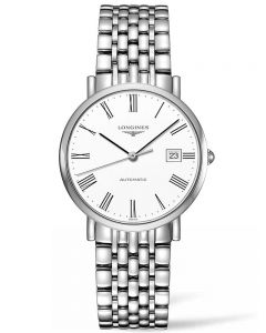 Longines Mens Elegant White Dial Bracelet Watch L48104116