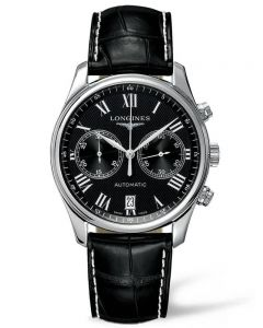 Longines Mens Master Black Chronograph Dial Leather Strap Watch L26294517