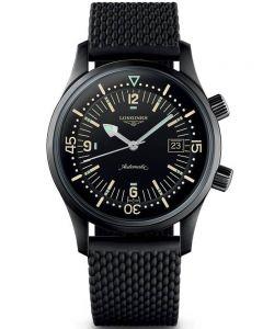 Longines Mens Legend Diver Black Rubber Strap Watch L37742509