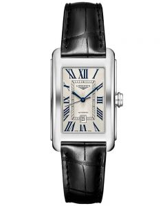 Longines Mens DolceVita Silver Dial Leather Strap Watch L57574710