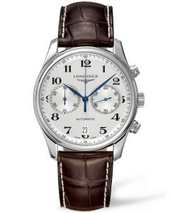 Longines Mens Master Chronograph Silver Dial Dark Brown Leather Strap Watch L26294783