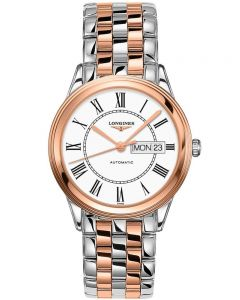 Longines Mens Flagship White Dial Two Colour Bracelet Watch L48993917