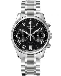 Longines Mens Master Black Chronograph Dial Bracelet Watch L26294516