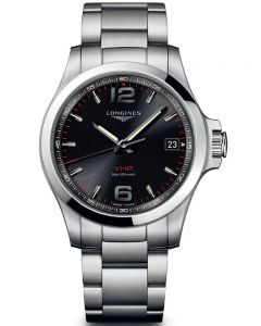 Longines Mens Conquest V.H.P Black Dial Bracelet Watch L37164566