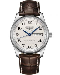 Longines Mens Master Silver Dial Brown Leather Strap Watch L29104783