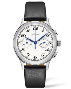 Longines Mens Heritage Classic Automatic Chronograpgh Black Leather Strap Watch L28274730