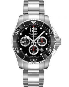 Longines Hydroconquest Automatic Chronograph Black Dial Silver Bracelet Watch L38834566