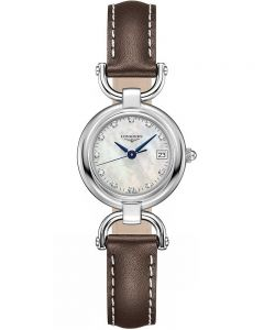 Longines Ladies Equestrian Diamond Set Mother Of Pearl Dial Brown Leather Strap Watch L61304872