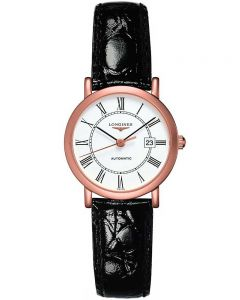 Longines Ladies Elegant 18ct Rose Gold White Dial Black Leather Strap Watch L43788110