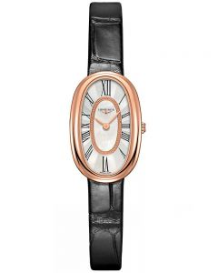 Longines Ladies Symphonette Mother Of Pearl Dial Black Leather Strap Watch L23058810