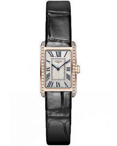Longines Ladies DolceVita 18ct Rose Gold Diamond Set Black Leather Strap Watch L52589710