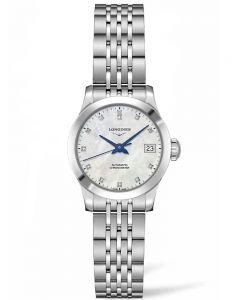 Longines Ladies Record Diamond Set Mother Of Pearl Dial Bracelet Watch L23204876