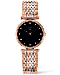 Longines Ladies La Grande Classique Diamond Set Black Dial Two Colour Bracelet Watch L45121577