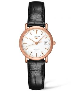 Longines Ladies Elegant 18ct Rose Gold White Dial Black Leather Strap Watch L43788120