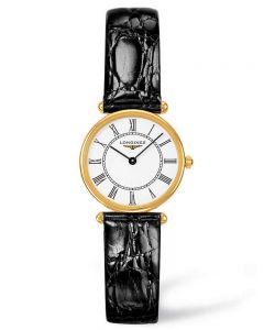 Longines Ladies Agassiz 18ct Gold White Dial Black Leather Strap Watch L41916110