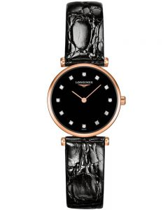 Longines Ladies La Grande Classique Diamond Set Black Dial Leather Strap Watch L42091572