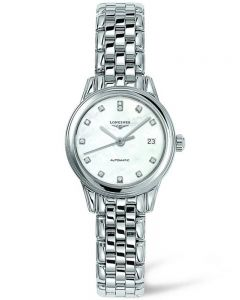 Longines Ladies Flagship Diamond Set White Dial Bracelet Watch L42744876
