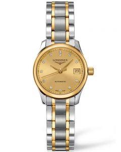 Longines Ladies Master Diamond Set Gold Dial Two Colour Bracelet Watch L21285377