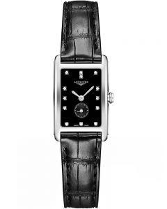 Longines Ladies DolceVita Diamond Set Black Dial Leather Strap Watch L52554570