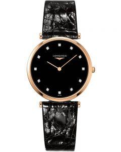 Longines Ladies La Grande Classique Diamond Set Black Dial Leather Strap Watch L47091572